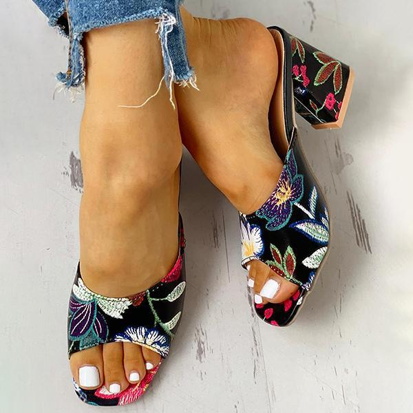 Faddishshoes Peep Toe Print Chunky Heeled Sandals