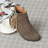 Faddishshoes Chunky Heel Faux Leather All Season Tassel Boots