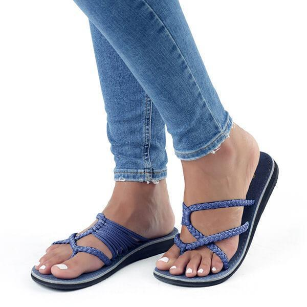 Faddishshoes Oceanside Rope Flats Sandals