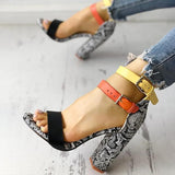 Faddishshoes Contrast Color Snakeskin Buckled Chunky Heeled Sandals