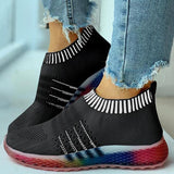 Faddishshoes Colored Bottom Striped Breathable Casual Sneakers