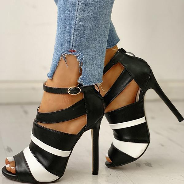 Faddishshoes Fashion Black&White Colorblock Peep Toe Thin Heels