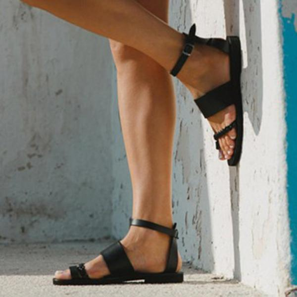 Faddishshoes Black Round Toe Separator Ankle Strap Sandals
