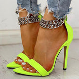Faddishshoes Metal Decoration Chain Buckled Open Toe Thin Heels