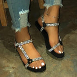 Faddishshoes Rhinestone Shoes Flat Sandals
