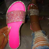 Faddishshoes Rhinestones Candy-colored Sole Stripes Sexy Party Slippers