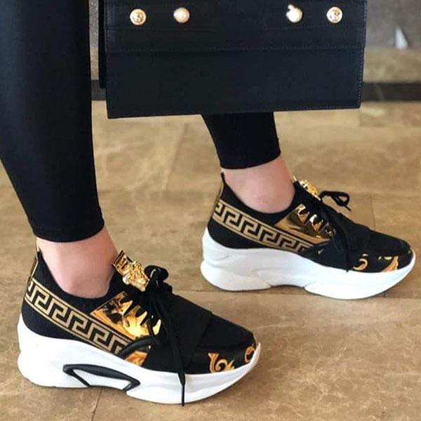 Faddishshoes Lace-Up Low-Cut Upper Round Toe Print Casual Sneakers
