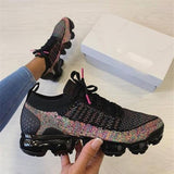 Faddishshoes Lace-Up Woven Air Cushion Running Casual Sneakers