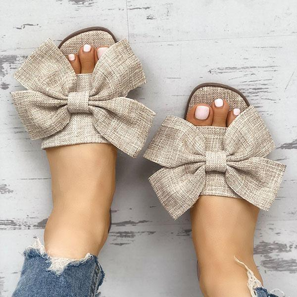 Faddishshoes Women Casual Bow Flat Slippers