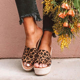 Faddishshoes Fashion Leopard Wedge Sandals