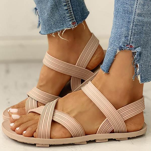 Faddishshoes Solid Crisscross Strap Flat Sandals