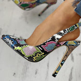 Faddishshoes Snakeskin Print Pointed Toe Thin Heeled Sandals