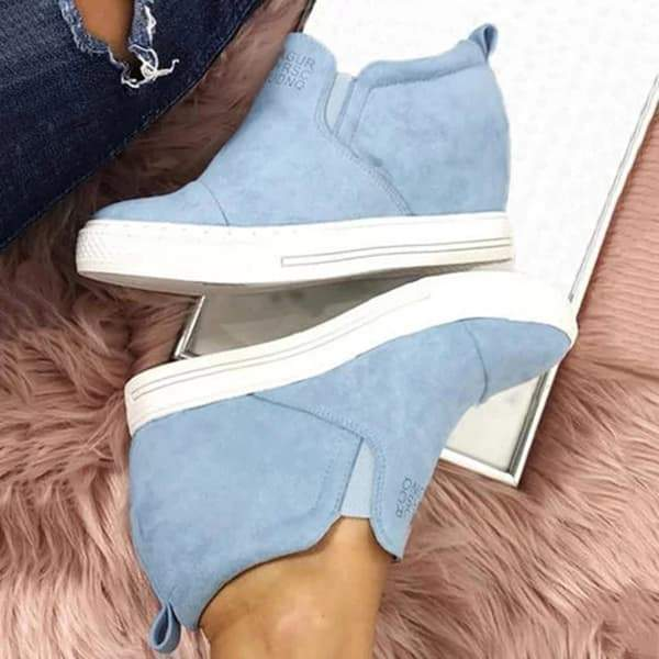 Faddishshoes Letter Slip On Wedge Sneakers