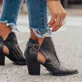 Faddishshoes Women Buckle Ankle Boots