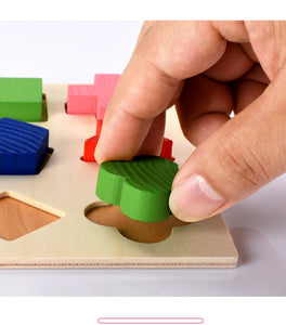 3D Puzzle Wooden Toys Colorful Geometry Shape