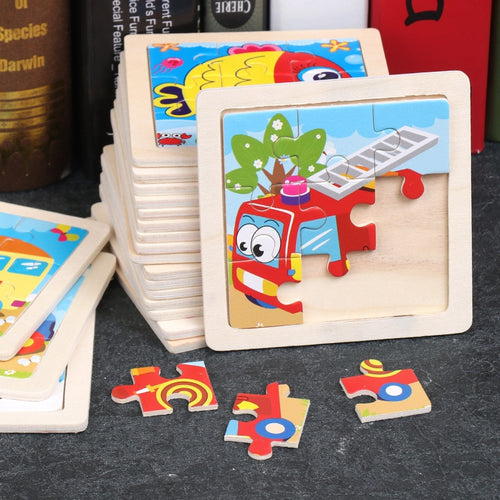 3D Mini Wood Jigsaw Toys For Kids