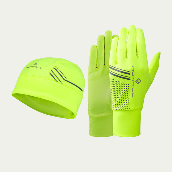 Ronhill Beanie and Glove Set Flou Yellow/Black