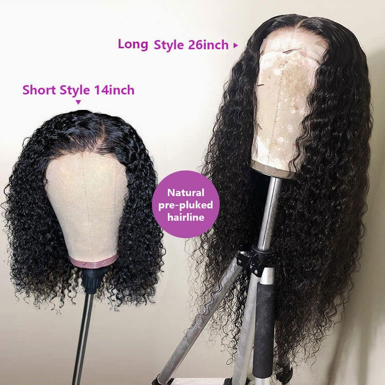 Curly Deep Wave 13x4 Lace Closure Wig Human Hair Lace Wig