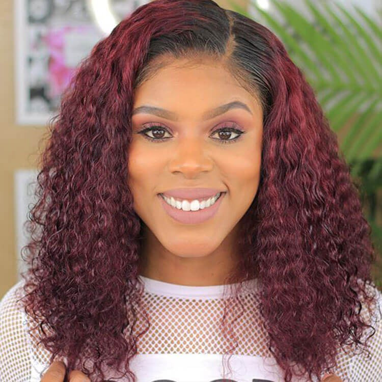 #1B/99J Color Short Curly Bob Human Hair Lace Wigs