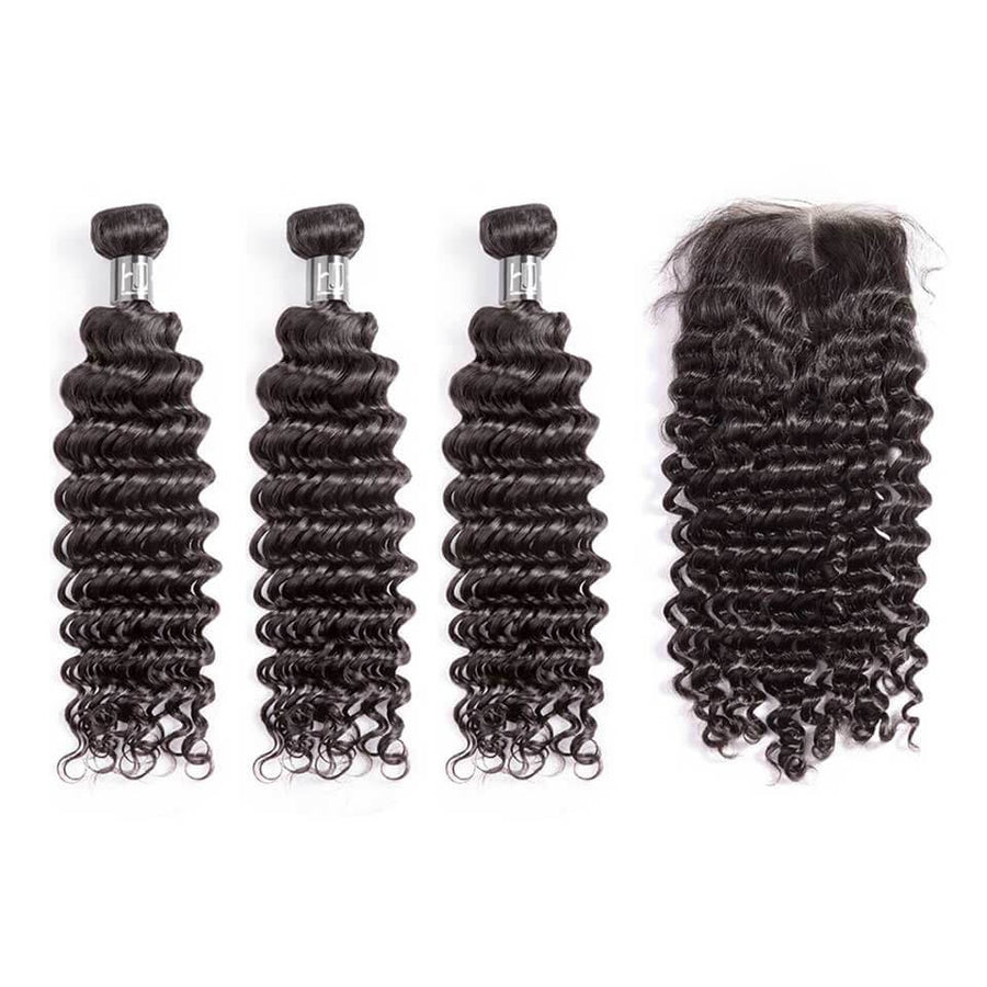 HJ WEAVE BEAUTY 10A Brazilian Mink Hair Deep Wave Bundle Deal