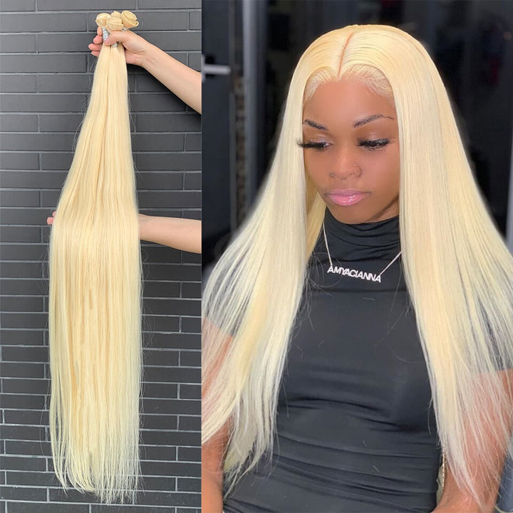 HJ Weave Beauty Long Hair Series Virgin Human Hair #613 Blonde Straight Bundle Deal