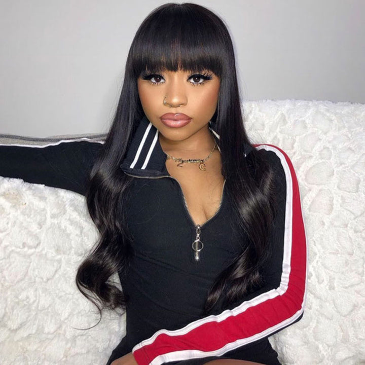 Body Wave Human Hair Wig With Bangs 180% Density