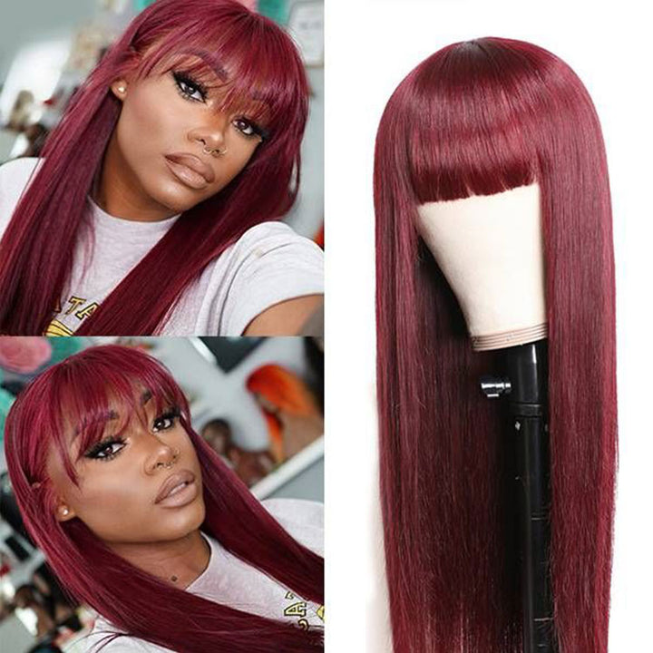 #99J Straight Human Hair Wig With Bangs 180% Density