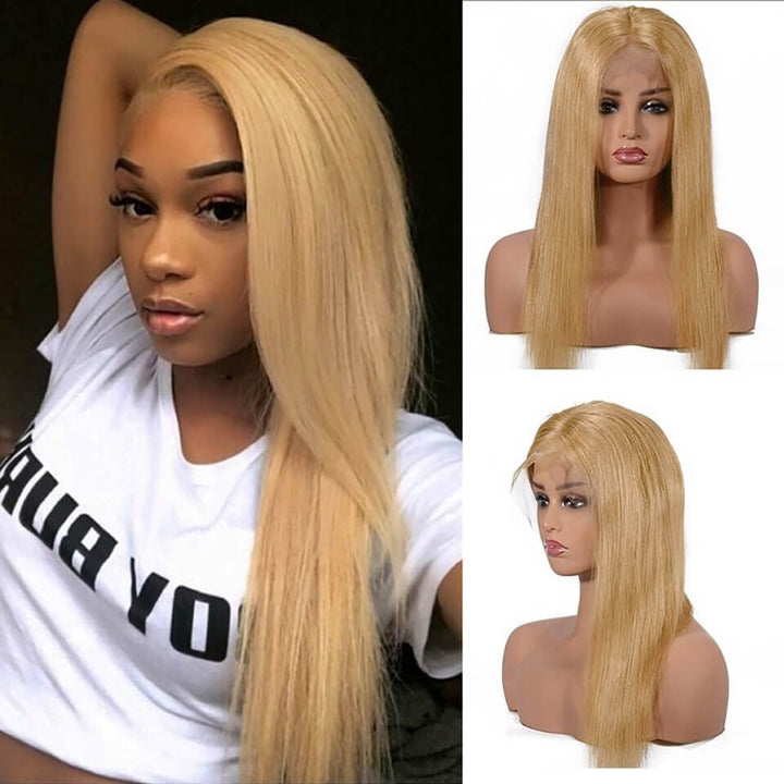 #27 Colored Hair Lace Front Wig Straight Colored Human Hair Lace Wigs