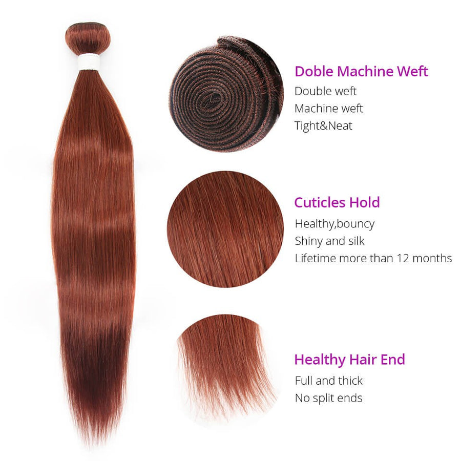 HJ Weave Beauty #33 Colored Virgin Hair Straight Bundle Deal