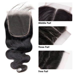 5x5 HD Siwss Lace Closure Body Wave Human Virgin Hair