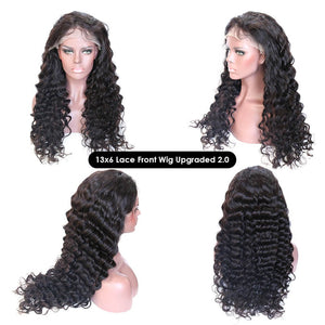 13x6 Lace Wig Natural Wave Virgin Hair Glueless Pre-plucked Hairline