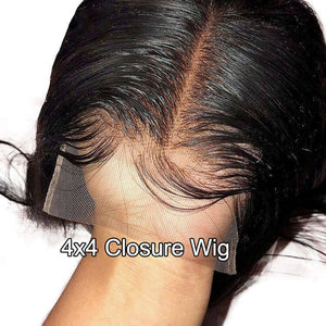 Body Wave 4x4 Lace Closure Wig Human Hair Lace Wig