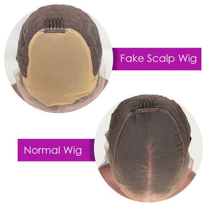 Body Wave 4X4 Lace Closure Wig Invisible Knot Fake Scalp Wig