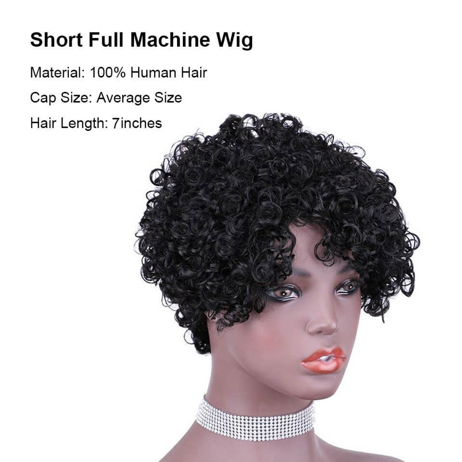 Pixie Cut Wig Afro Kinky Curly Human Hair Full Machine Wig