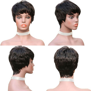 Cut Wig Straight Short Human Hair Full Machine Wig
