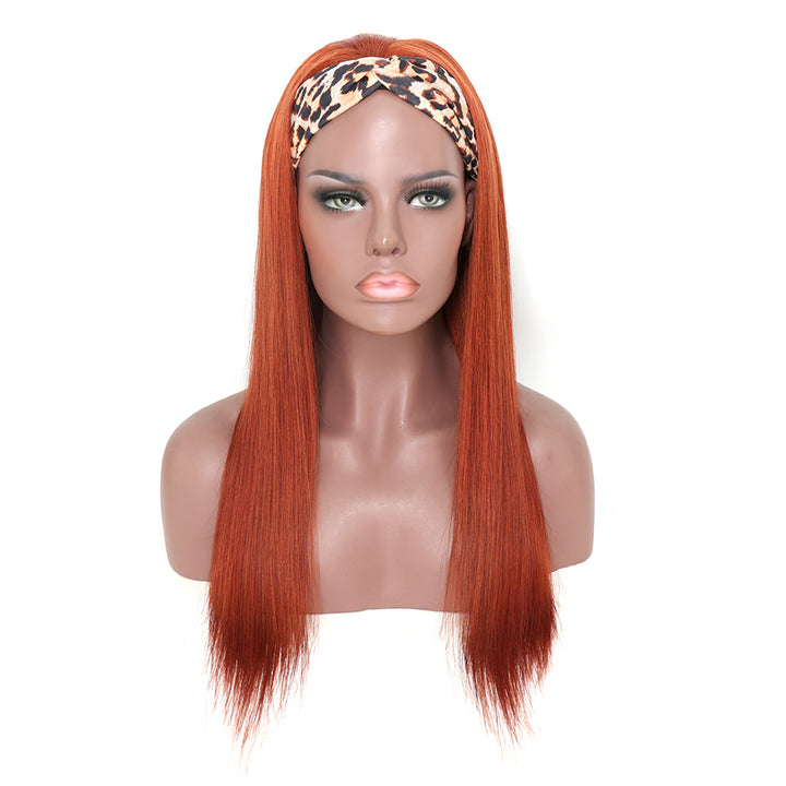 Headband Wig #33 Ginger Color Straight 180% Density