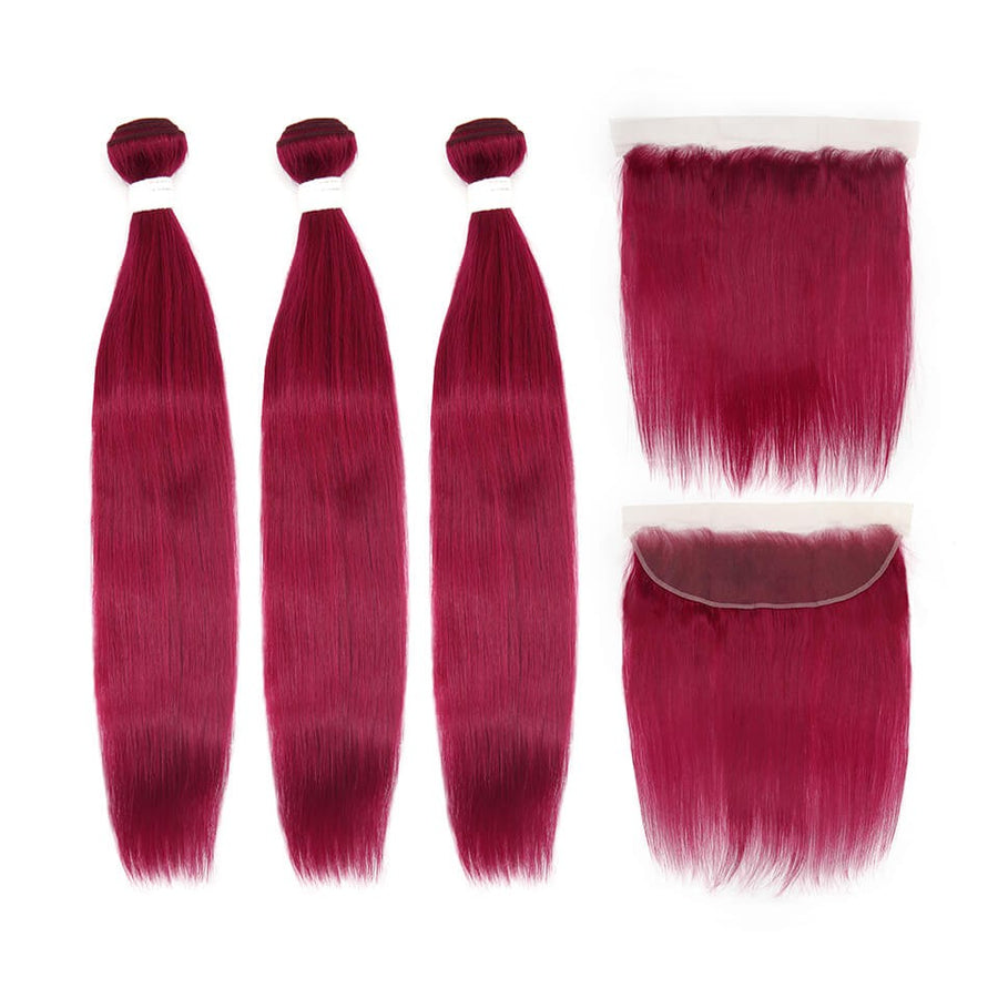 HJ Weave Beauty Burgundy Colored Virgin Hair Straight Bundle Deal