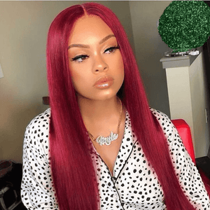 Burgundy Colored Hair 180% Density Lace Front Wig Straight Colored Human Hair Wigs