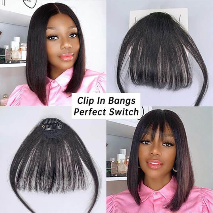Clip-in Bangs Natural Color| One Wig Two Styles