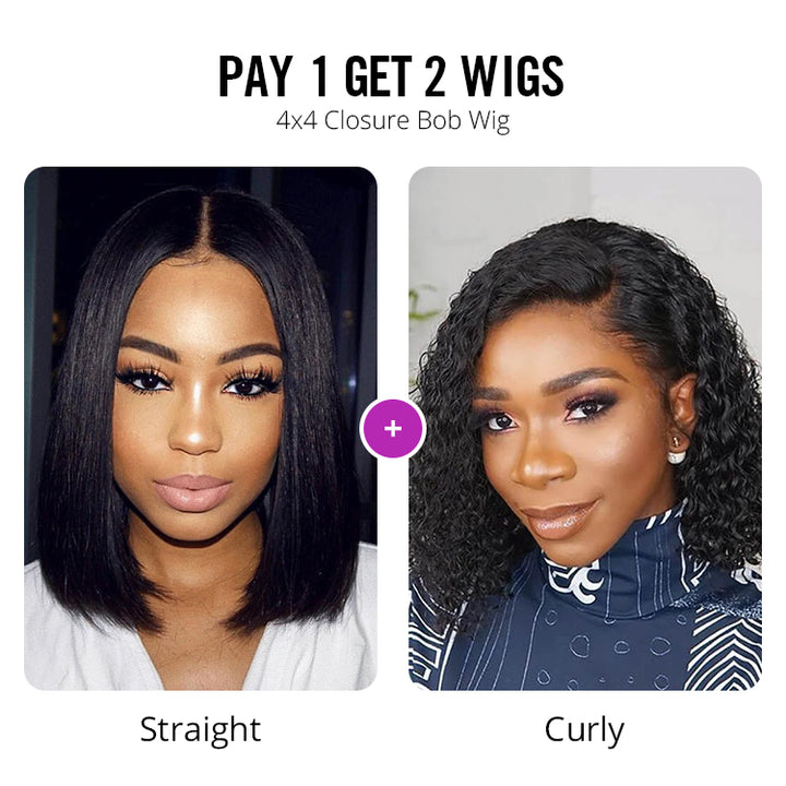 Pay 1 Get 2 Wigs | 4x4 Lace Bob Wig 180% Density Straight + Curly