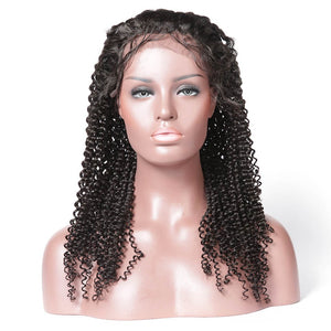 Kinky Curly 13X4 Lace Front Wig Invisible Knot Fake Scalp Wig Best Virgin Human Hair