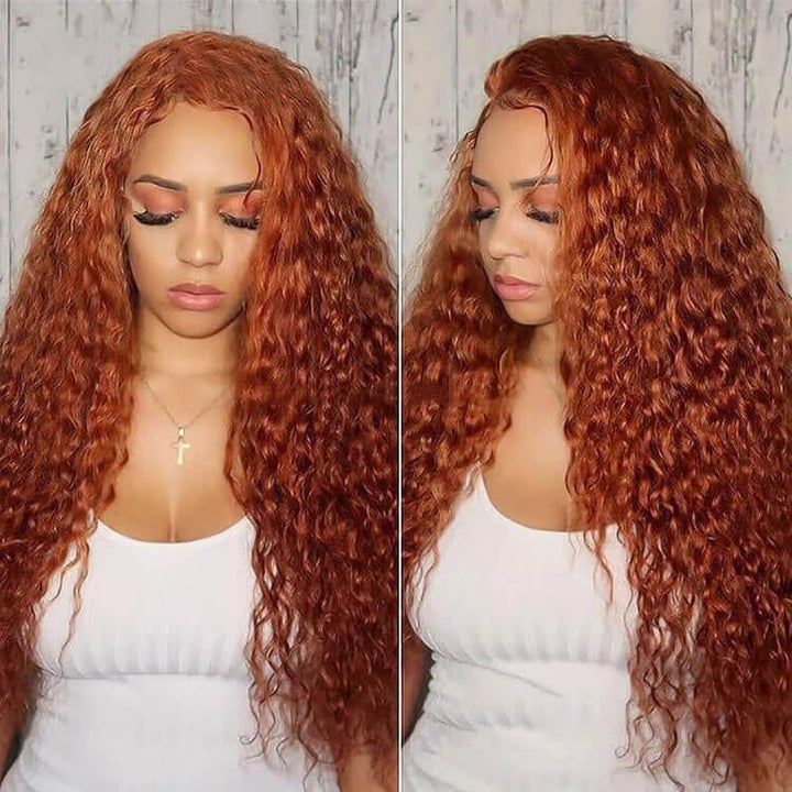 Light Orange Curly Deep Wave Colored Hair Lace Wig Brazilian Human Hair Wigs