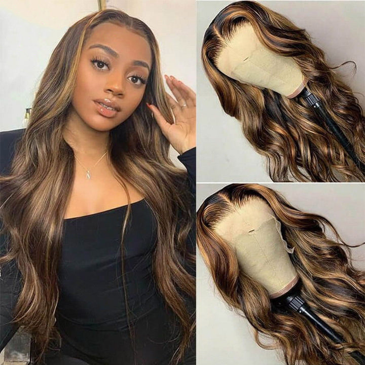 #4/27 Highlight Piano Fall Color 13x4 Lace Front Body Wave Human Hair Wigs