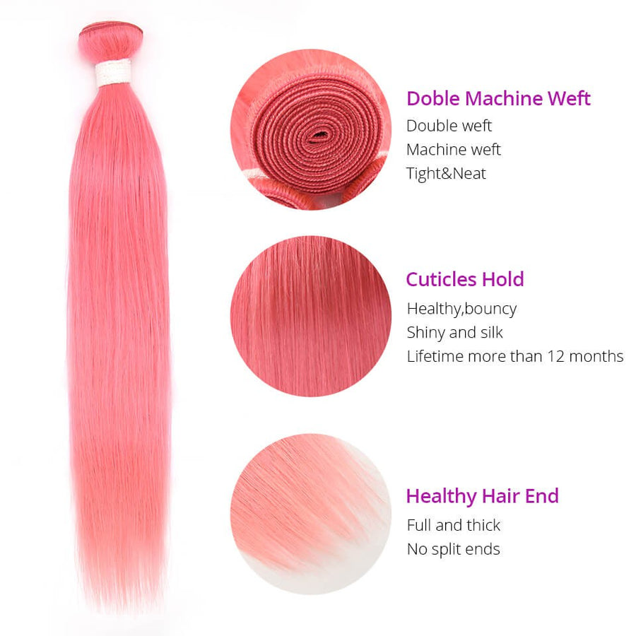 HJ Weave Beauty Pink Colored Virgin Hair Straight Bundle Deal