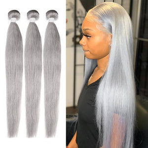 HJ Weave Beauty Silver Colored Virgin Hair Straight Bundle Deal