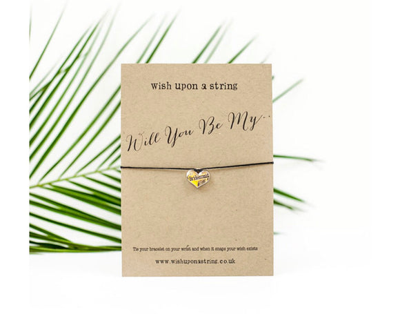 Wish string Bracelet Card | Will You Be My Bridesmaid/Flower Girl/Maid Of Honour/Honor? | Proposal | Wedding