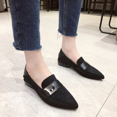 Pointed Toe Low-heeled Lazy Flat Shoes