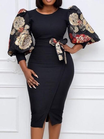 Lantern sleeve high waist plus size slim print dress