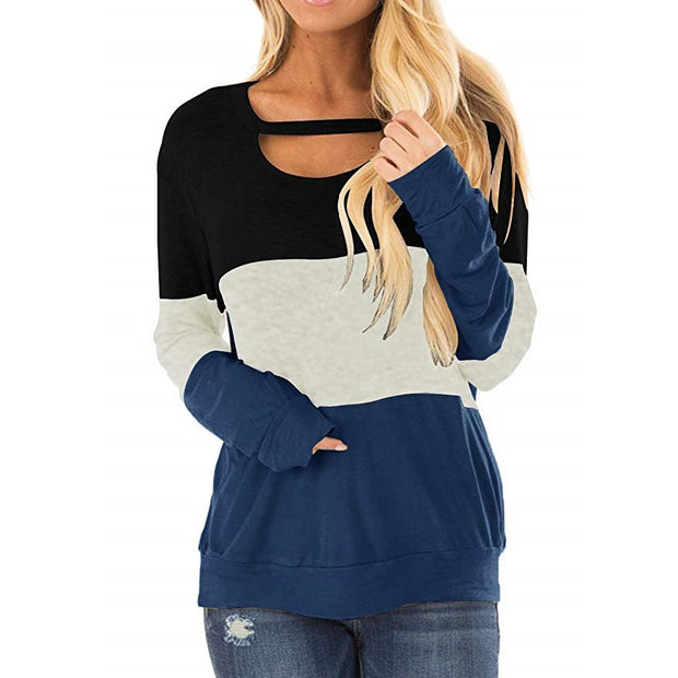 Round Neck Color Block Long-sleeved T-shirt Sweatshirt