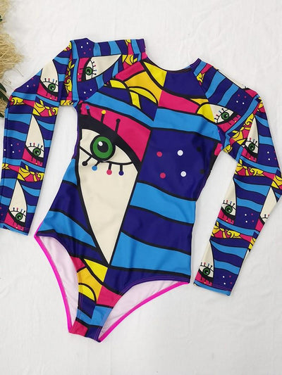 Long sleeve abstract print one-piece swimsuit surf suit